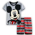 New 2016 summer cartoon children clothing set plaid kids shorts + t shirts 2pcs boys sport suit set fit for 2-7year y07