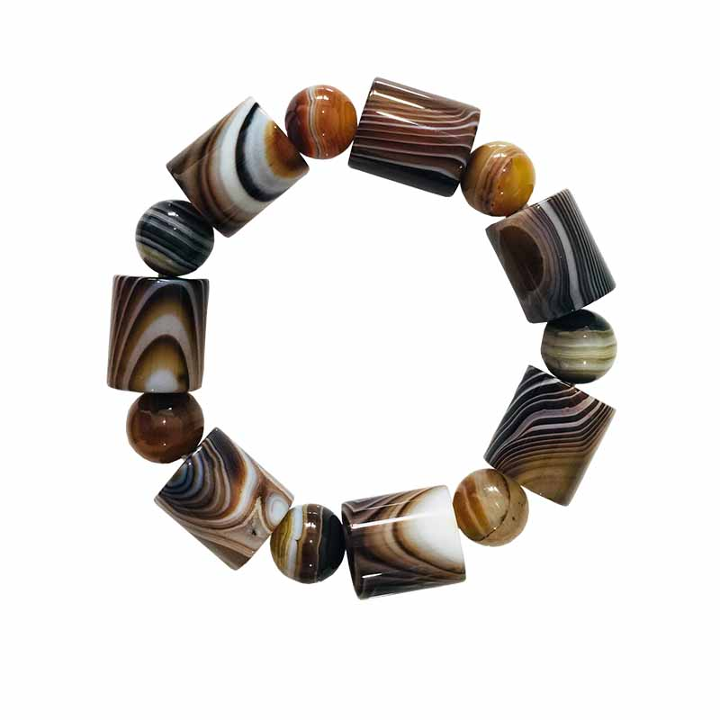 Meajoe Trendy Natural Stone Beaded Bracelet Charm Round Ball Chain Beads Transit Lucky Bracelets Jewelry For Women Men Gift