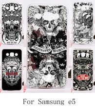 DIY Good Selling Phone Cover for Samsung Galaxy E5 E500 SM-E500F E500H Cases With Skull Hard and Silicon Painting Cover back