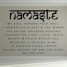 Namaste Wall Decal Yoga Art Home Bedroom Deocr Quote Vinyl Sticker Removable Studio Murals AY1440
