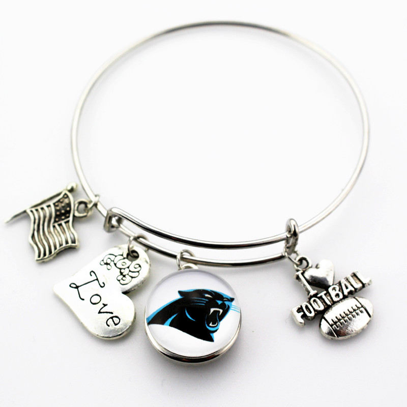 10pcs Carolina Panthers Love Football Charm Team Ginger Snap Bracelet Jewelry Expandable Adjule Bangles In From Accessories
