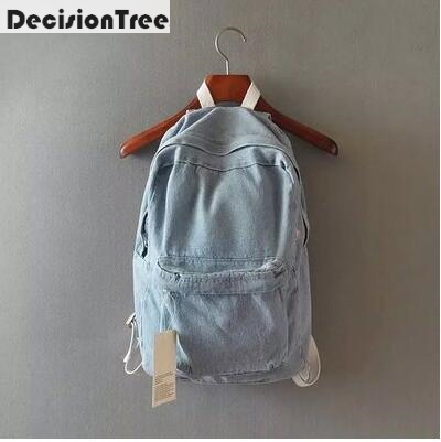 Fashion Women School Backpack Bags Satch Denim Jeans Backpack Teenage Backpacks For Girls Feminine Backpack Schoolbag Bagpack