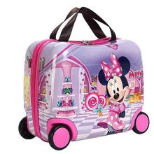 2019 new riding box portable hard shell wheel bag abs+pc gift box fashion suitcase girl can sit baby festival children bear gift цена и фото