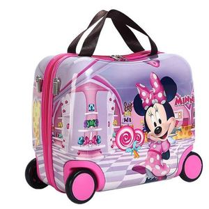 2019 new riding box portable hard shell wheel bag abs+pc gift box fashion suitcase girl can sit baby festival children bear gift