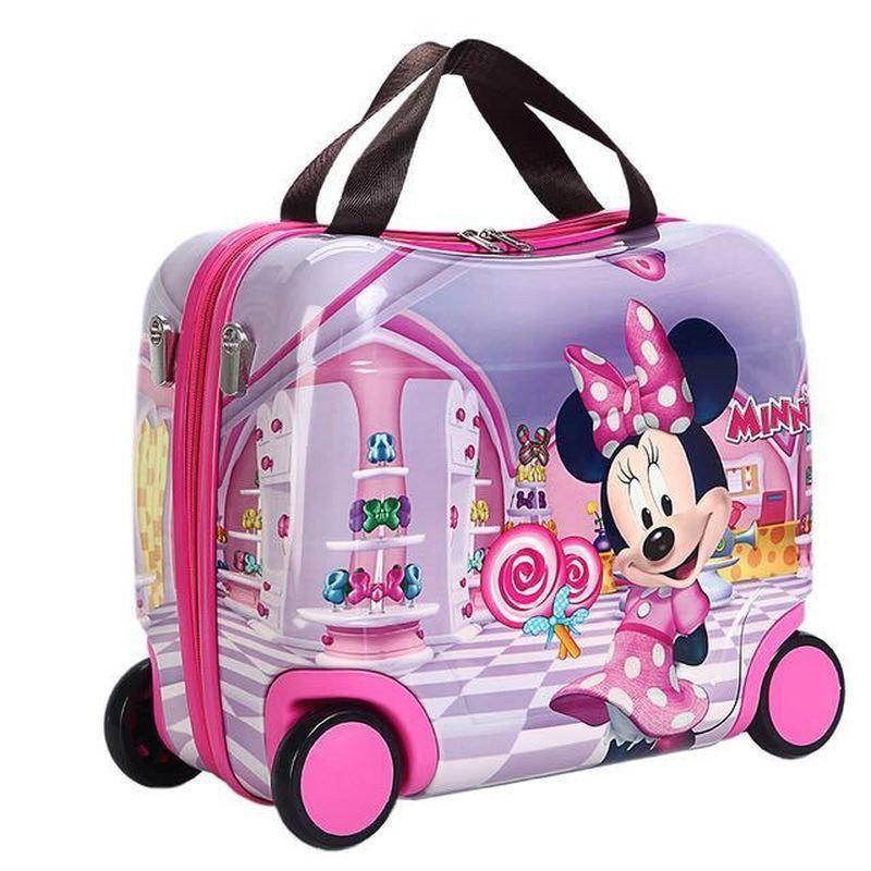 2019 nouvelle boîte d'équitation portable coquille dure sac de roue abs + pc boîte cadeau mode valise fille peut s'asseoir bébé festival enfants ours cadeau
