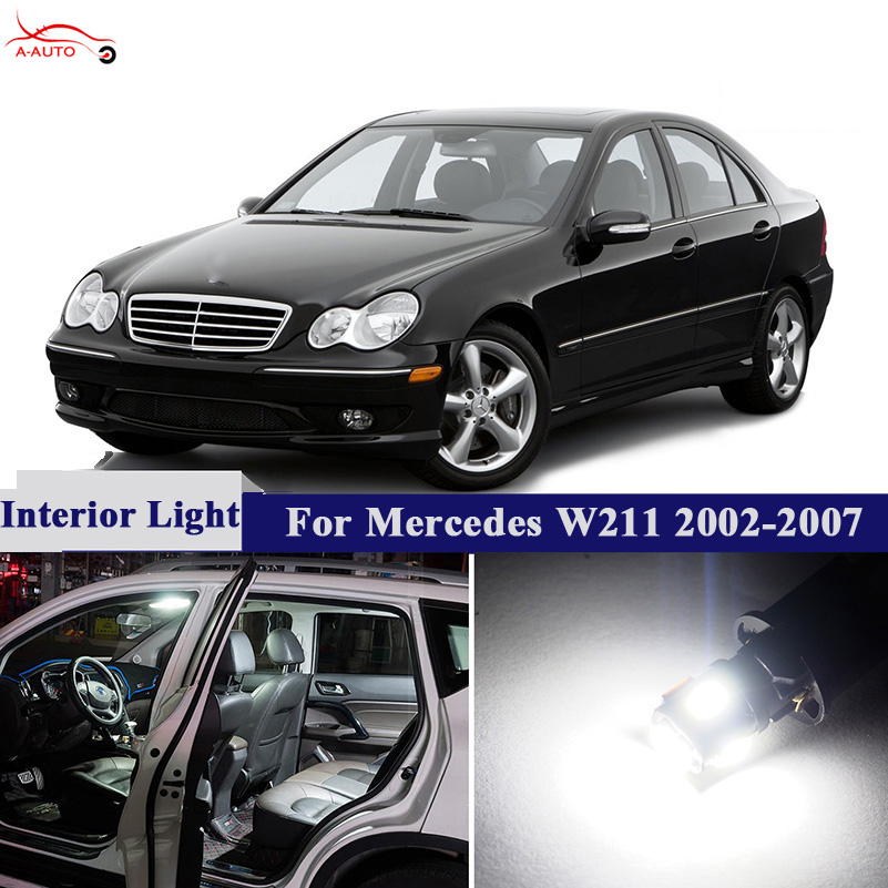 10pcs Car Canbus Dome Trunk License Plate Lights Reading Glove LED Interior Bulbs Package Kits For Mercedes W211 2002-2007
