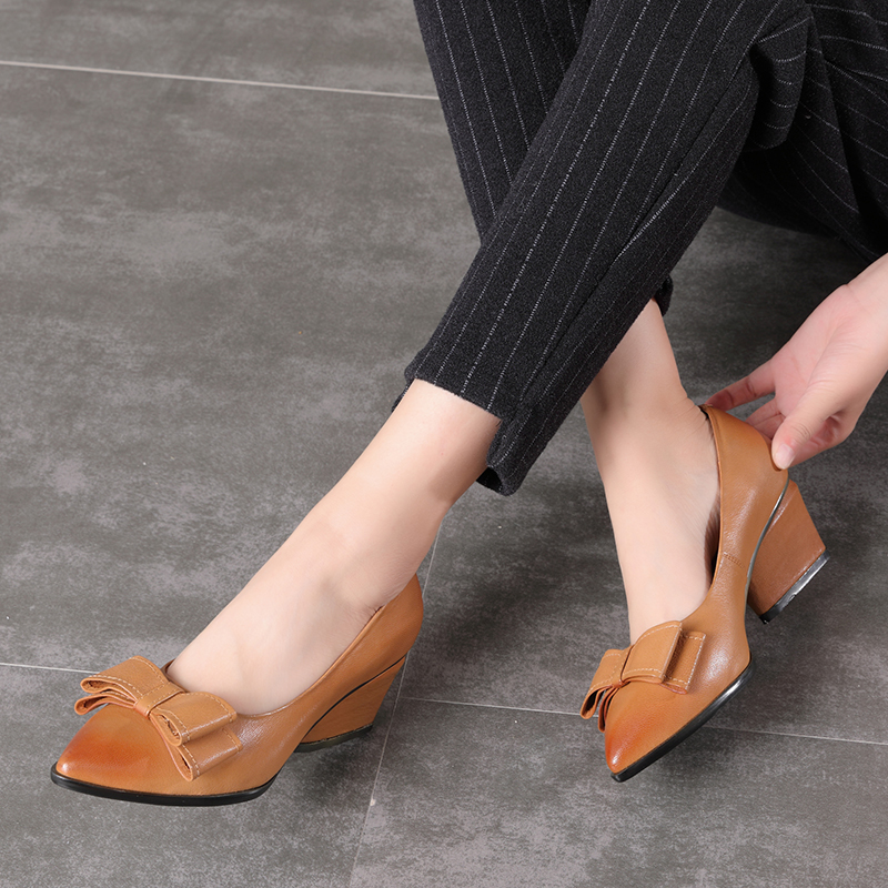 Pointed Toe Pumps Women High Heel Shoes VALLU Natural Leather Bow Knot Heeled Shoes Lady Casual