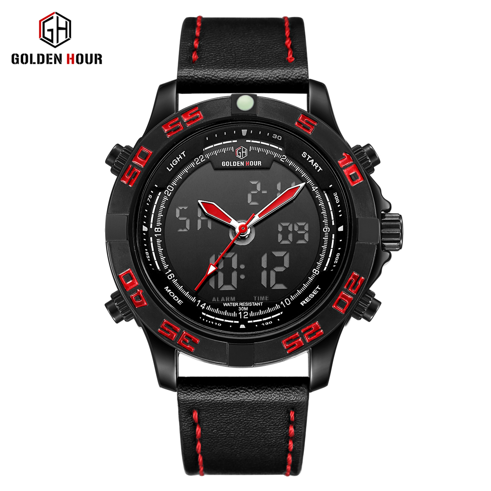 Chasy New Fashion Business LED Multifunction Black Leather Digital Quartz Watch Men Casual Calendar Luminous Waterproof watch цена