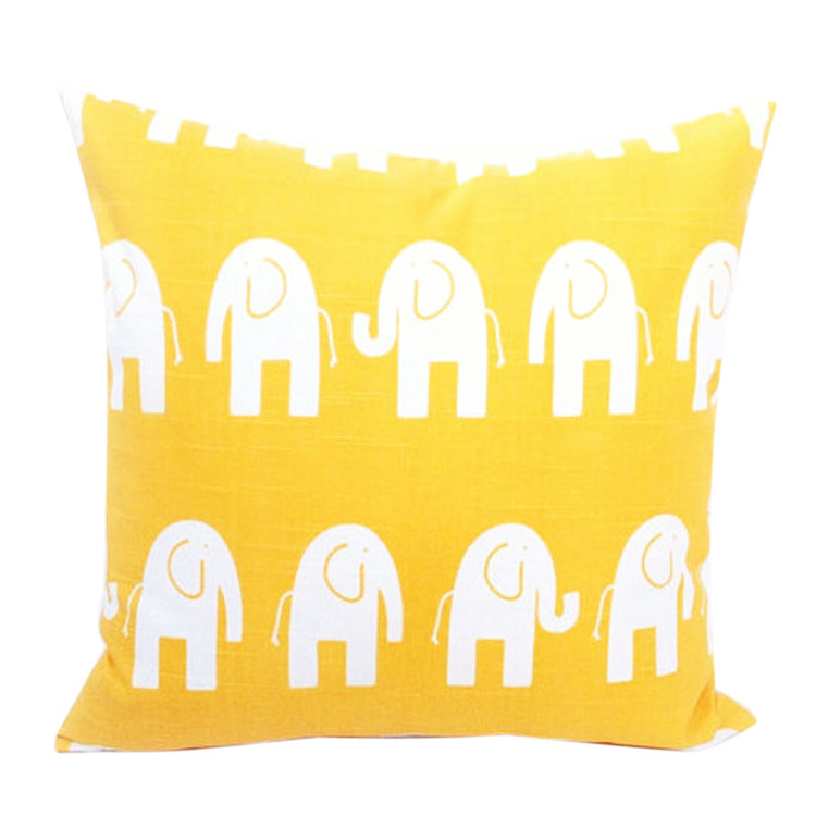Elephant Cushion Cover,Animal Pillow Case,Canvas Cushion Case,Yellow Pillowcase,Decorative Sofa Throw Pillow Coves for Christmas