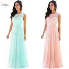 купить Elegant Pink Chiffon Long Evening Dress Scoop Neck Sleeveless Evening Gown robe de soiree Real Photo по цене 3255.91 рублей