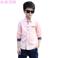 2017 Spring Children Kids Long-Sleeved Shirts Teenagers Big Boys Korean All-Match Tops Shirts For Boys 8-18 Years Old Clt058