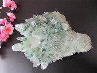 Уникальный природный зеленый кристалл кластер скелетный кварцевый точечная палочка минеральный исцеляющий Кристалл Druse Vug образец натурал...