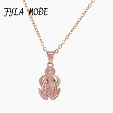 Fyla Mode Micro Pave Zircon Jewelry Necklaces Allergy Prevention Animal Frog Pendant Chain Necklace Jewelry For Women Christmas