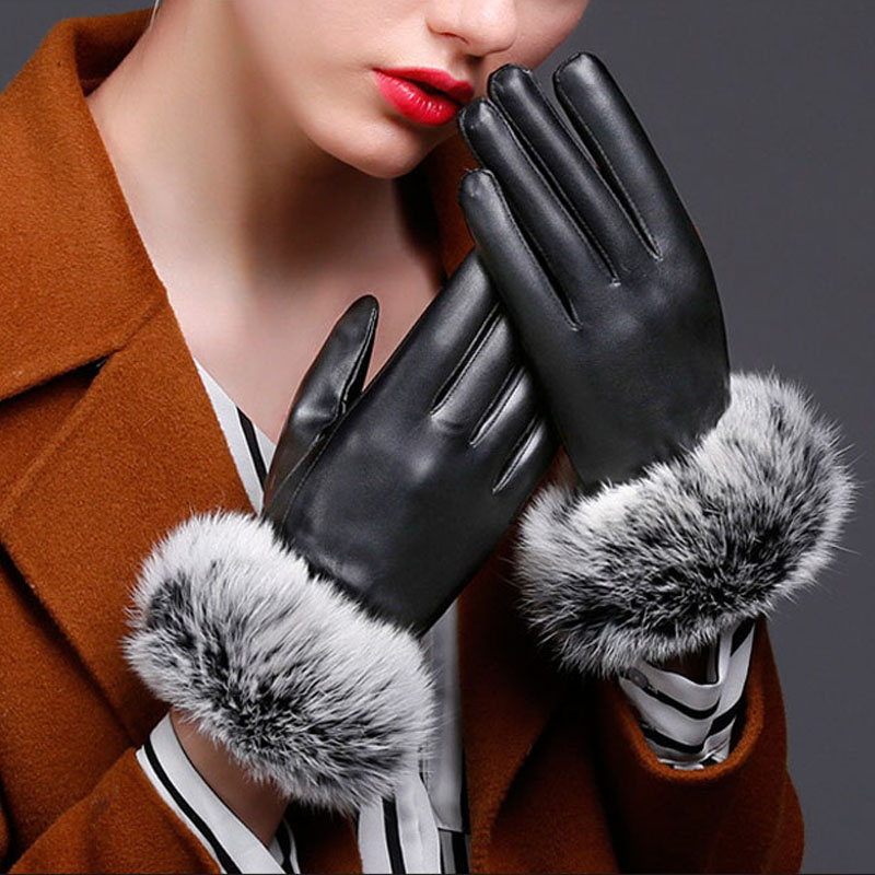 Warm Autumn Winter Women Outdoor Gloves PU Leather Plush Windproof Full Finger Touches Screen Mittens Lady Causal Warm Glove