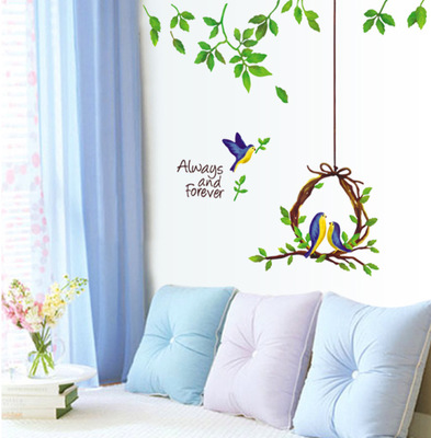 Diy always and forever quotes modern wall decals stickers birds wall sticker for kids room home decoration poster 3d wallpaper in wall stickers from home