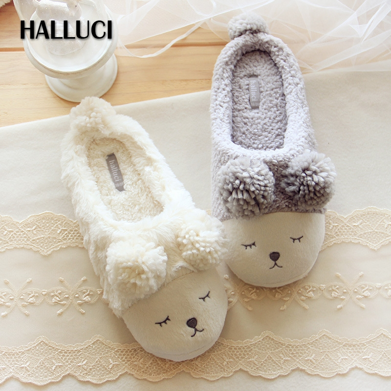 HALLUCI Sheep home slippers women shoes couples fluffy slippers cute pulsh zapatos mujer pantufa sapatos mulher shoes woman