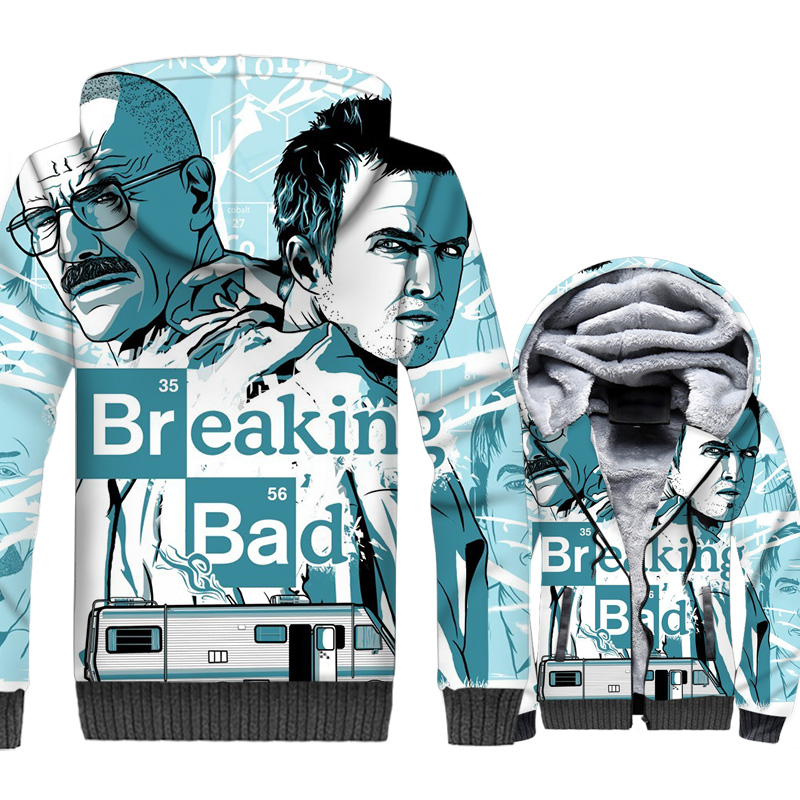 Breaking Bad Jacket Heisenberg Hoodie Men Walter White Sweatshirt Winter Thick Fleece Zip up 3D Print Coat Hipster Sportswear