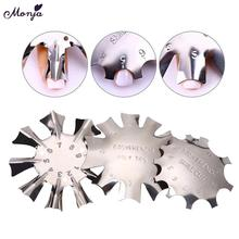 Monja Nails Art Metal French Smile Line Edge Cutter Easy DIY False Nail Moon Shape Trimmer Painting Guide Stencil Rules 3 Style