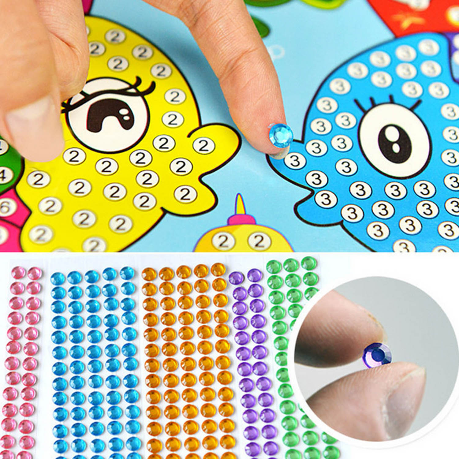 Besegad 3 Set Children Kid Drawing DIY Gif Rhinestone Painting Sticker Mosaic Puzzle Toys Art Craft Educational Toy Random Style