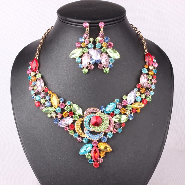 2016 New  Multicolor Crystal  Flower Gold Plated Necklace Earrings Sets Party Prom Bridal Wedding Jewelry Sets YG- G01