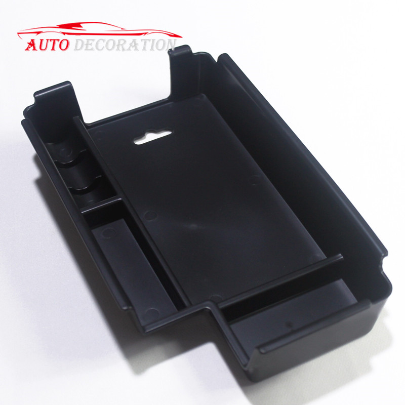 For Left Hand Drive! For <font><b>Audi</b></font> <font><b>A4</b></font> <font><b>2017</b></font> 2018 Black Accessories Car-Styling Interior Armrest Storage Box Container 1 set With Mat image