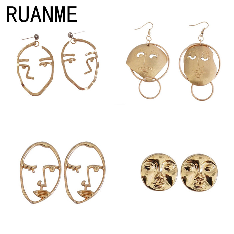 Face earrings Joker exaggerated personality temperament abstract face circle atmospheric wacky retro metal earrings circle