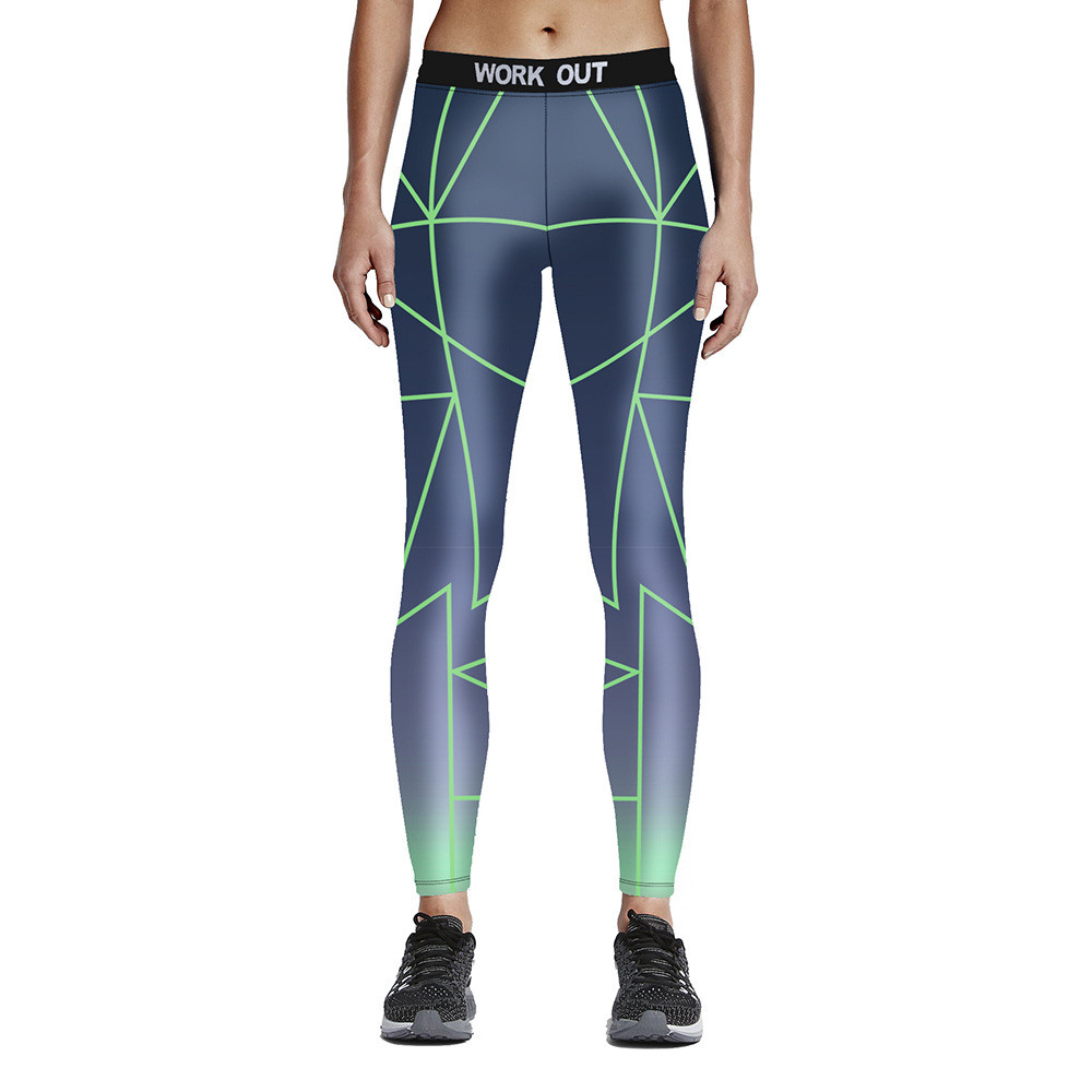 Unisex High Waist Elastic Leggings Green Lines on Grey Gradient Fitness Fiber Aerobic Exercise Workout Pants Full Size S-4XL