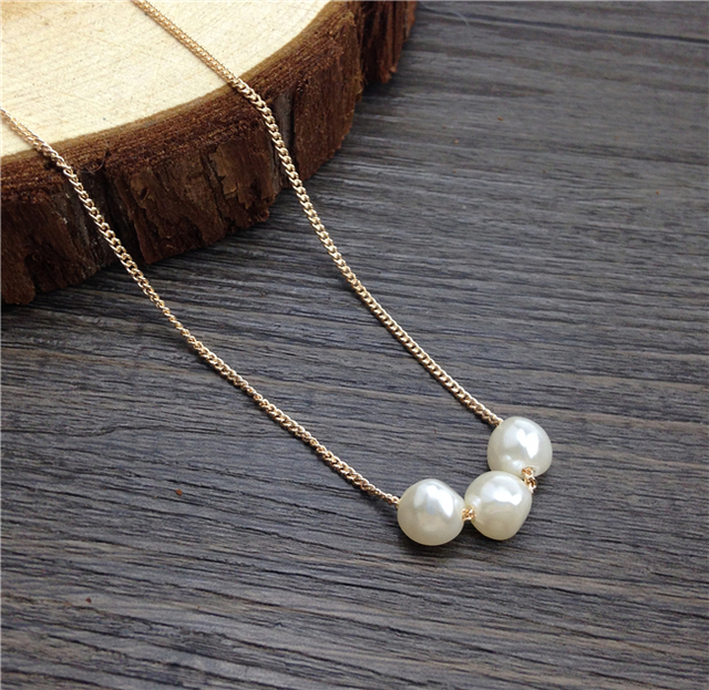 931d514bbd5b0 US $10.89  Three Pearl Necklace Floating Pearl Jewelry Gold Plated Chain  Triple Pearl Pendant Necklace Cultured Freshwater Pearl Choker-in Pendant  ...