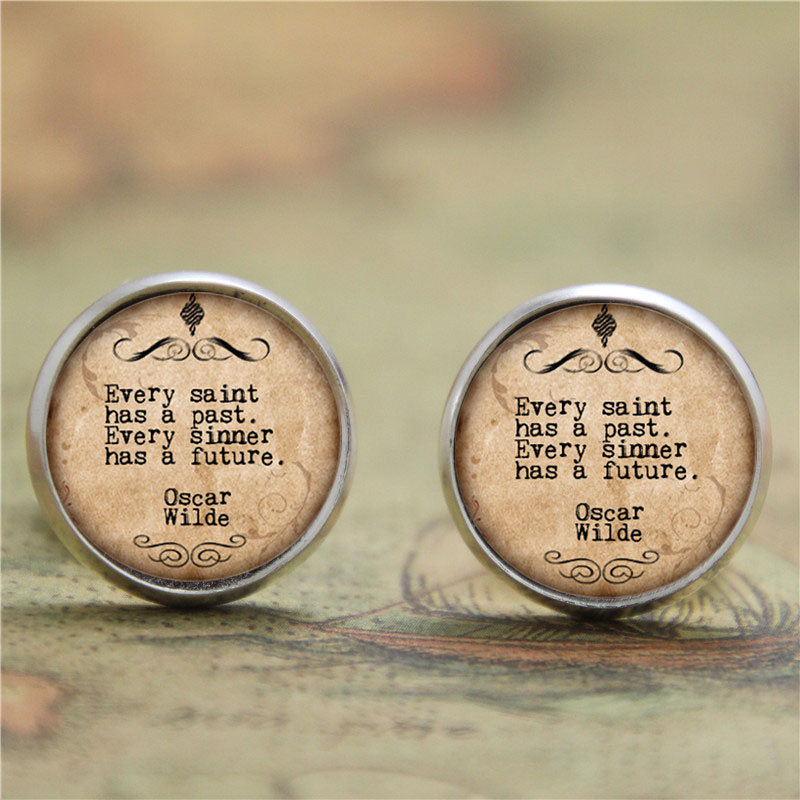 10pairs/lot witty poet earring , Every Saint Has a Past Every sinner has a future print glass Photo saying earring