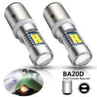2 piezas H6 BA20D bombillas LED para faro de motocicleta Hi/Lo 3030 SMD 21 bombillas LED 12V motocicleta blanca scooter faro luz del coche de la lámpara de la niebla