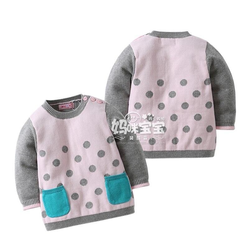 Nueva 2015 otoño niños suéteres chicas ropa infantil Polka Dot suéter hecho punto  bebé abrigo niños camisa de punto jersey f6ca1f3635b
