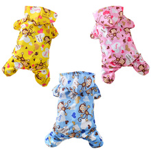 Cute Monkey Printed Dog Raincoat For Dogs Rainwear Waterproof Pet Dog Clothes For Small Medium Dogs Pets Clothing Pet Jumpsuits