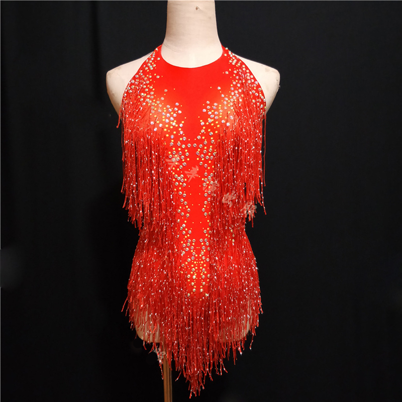 Sparkly Gold Rhinestones Tassel Bodysuit Female Singer DJ Sexy Holographic Leotard Jazz Beyonce Costume Crystals Outfit