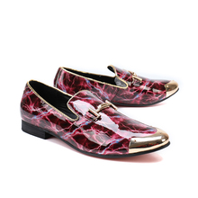 Luxury shining Leather Metal Buckle Design New Male loafers Casual Shoes