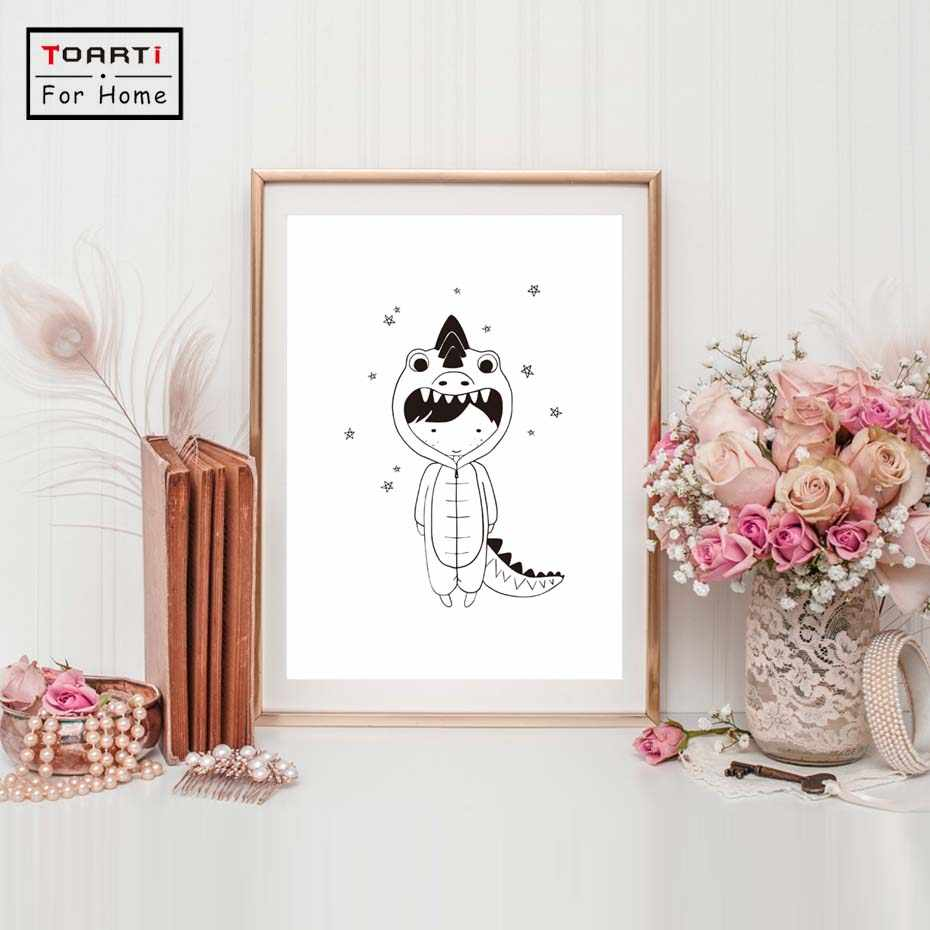 Dinosaur Boy Black White Nordic Poster Wall Art Print Canvas Painting Posters And Prints Wall Pictures Kids Room Decor