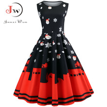Women Floral Slim Vintage Sleeveless Casual Elegant Party Festival Christmas Dress