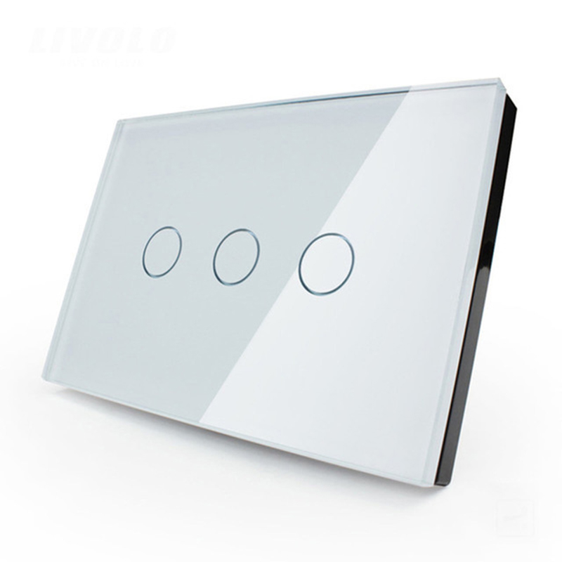 Smart home 3gang 1way US/AU standard AC110~250V light screen touch switch white black crystal glass panel  Cnskou manufacturer smart home touch switch crystal glass panel 3 gang 1 way us au golden light touch screen switch ac110 250v wall touch switch