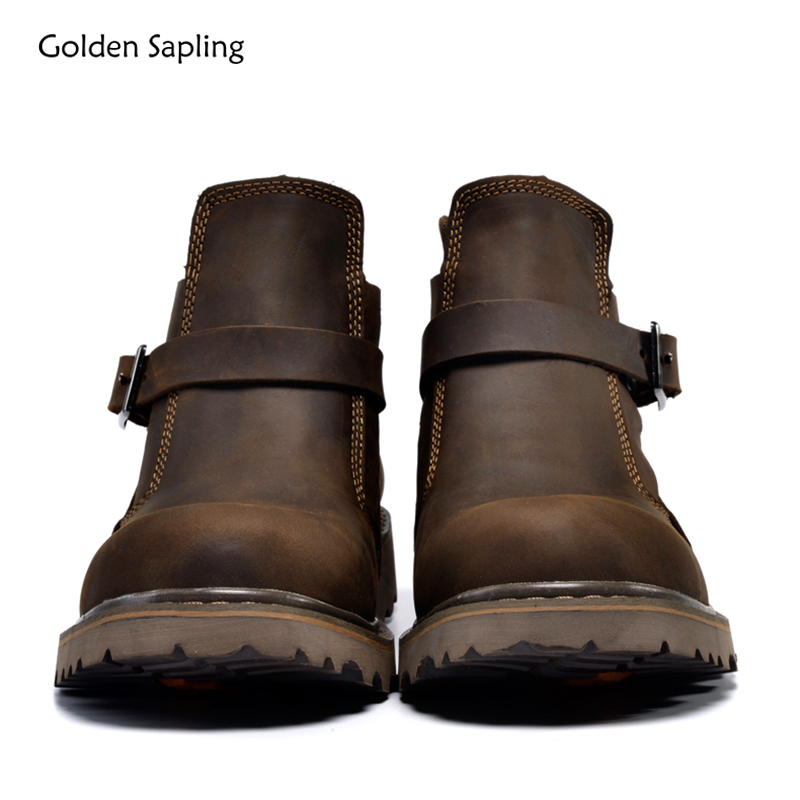 Golden Sapling Tactical Boots Men Genuine Leather Soft Hiking Shoe Breathable Outdoor Retro Hunting Boot Trekking Men's Sneakers image