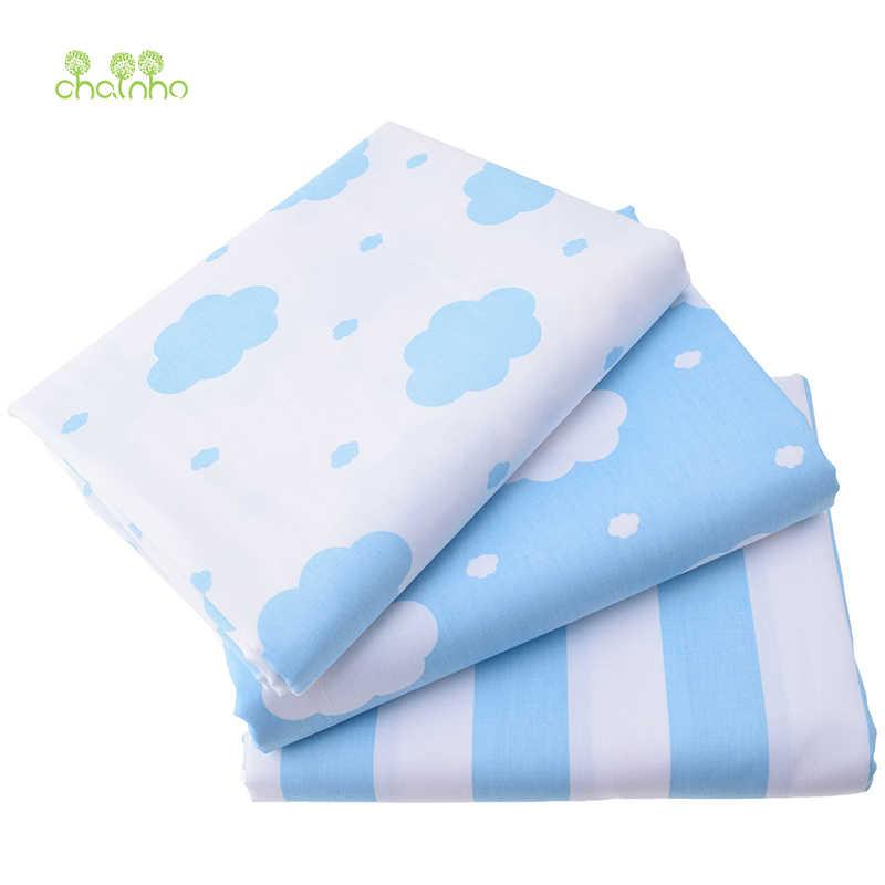 Nuvens impresso sarja tecido de algodão para costura estofando céu azul tecido lençóis de cama do bebê sleepwear crianças vestido saia material