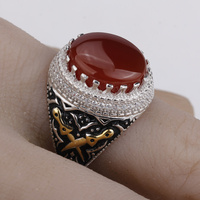 2018 Men Ring Real 925 Sterling Silver Red Stone with Double Sword Clear CZ Finger Ring for Men