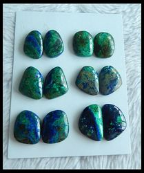 6 Pairs Chrysocolla Cabochon Paare, halbedelschmuck ohrring cabochon paare, 23x15x5/19x13x5mm, 36,5g