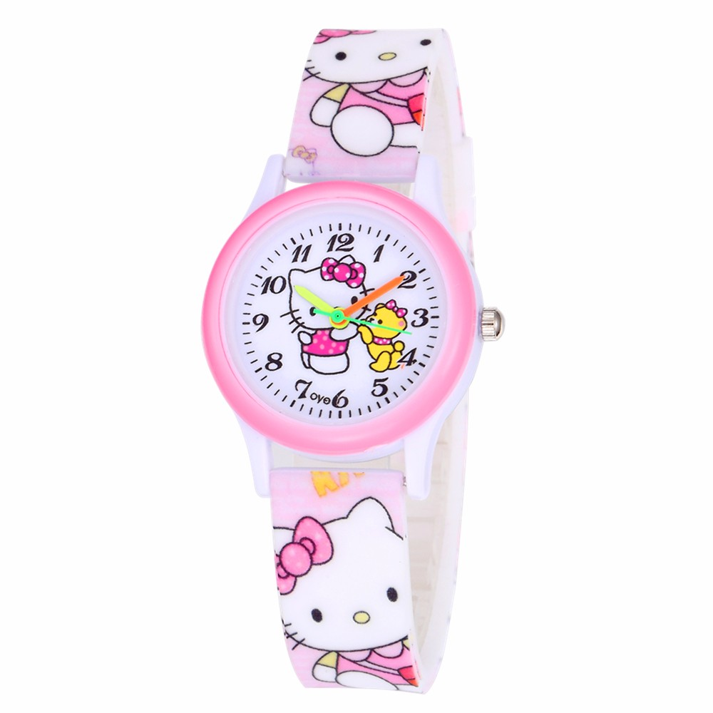 Girls Watch Children Watches Gift Cute Kitten Pink Wristwatch Rubber Band Watch Cartoon Cat Quartz Clock Saats Relogio Infantil