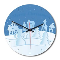 Wood Acrylic Clock Wall Hanging Round Shaped Home Wall Decoration Watch Living Room Home Crafts Snow World Pattern 1pc
