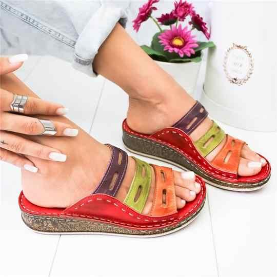 Disputent verão mulher chinelos 2019 roma retro sapatos casuais fundo grosso cunha dedo do pé aberto sandálias de praia deslizamento em slides do sexo feminino