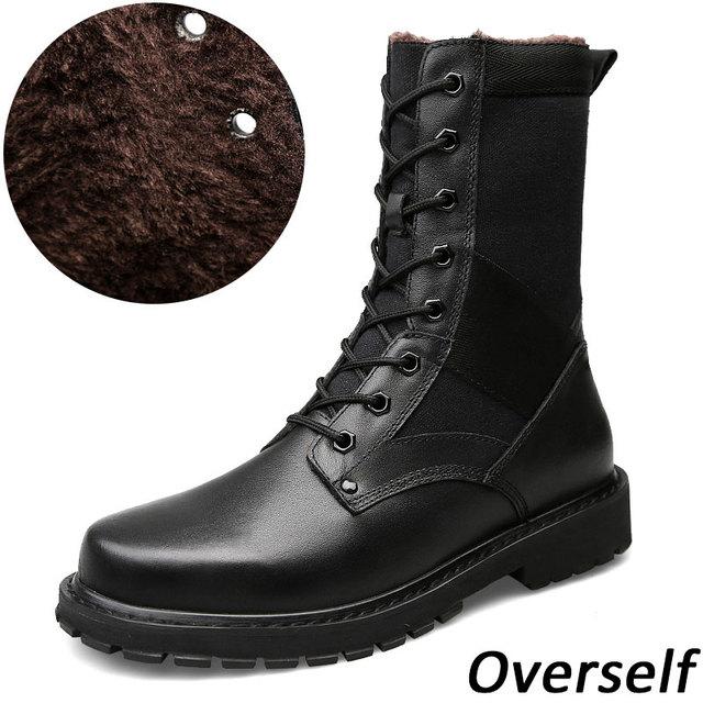 c281a4a8658 Men Mid-Calf Boots Large Size Winter Boots Plus Big Size Shoes Genuine  Leather Warm Fur Short Plush Men New Snow Boots For men