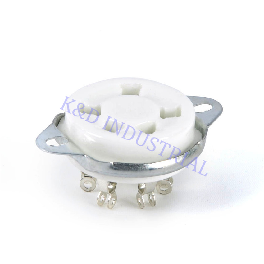 10pcs US Style 5Pin Silver Ceramic Tube Socket for 807 27 24 UX5 Base Valve Amplifier Guitar Amp parts