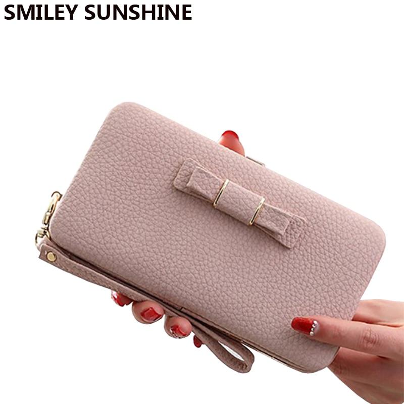 Bow Women Wallets Female Big Coin Purse Card Holders Korean Ladies Wallets portfolio Clutch Money Bag Purses Wallets Wristlet