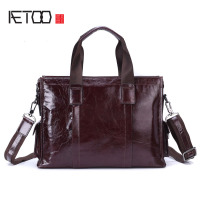 AETOO New business package brand leather men briefcase retro first layer cowhide portable shoulder computer bag