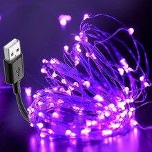 10 м USB светодиодная гирлянда, черный светильник, УФ, на Рождество, Хэллоуин, DIY, барная лампа, водонепроницаемая, бактерицидная, для сцены, с привидениями, для дезинфекции, ультрафиолет