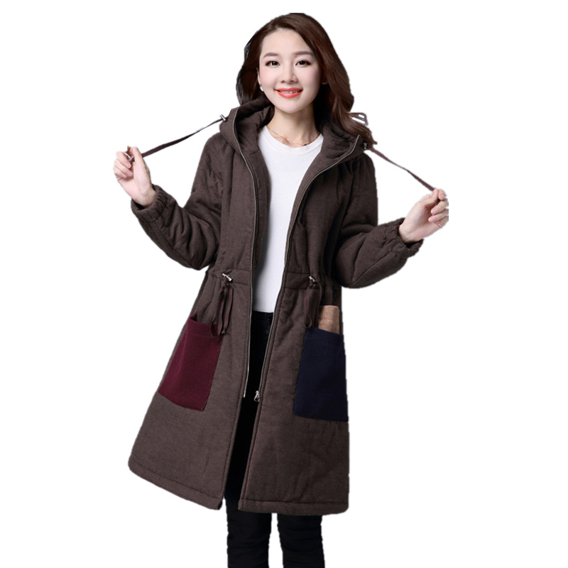 ФОТО 2017 New Down Parka Winter Jacket Women Cotton Padded Thick Plus Size Loose Long Coat Drawstring Waist Hooded Female Outwear